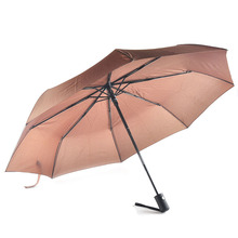 Fashion Fully Automatic Three Folding Umbrella Paraguas Windproof Craft 190T Rainy Foldable Pockets Umbrellas Fit Adults Kids