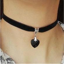 New Fashion Retro Punk Gothic Velvet Crystal Heart Necklace Tattoo Collares Bijoux For Women Jewelry Clavicle Choker NK2015