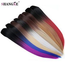 "SHANGKE 24"" 150g Long Stright 5 Clip In Hair Extensions Natural Ombre Hairpieces Heat Resistant Synthetic Hair Women Hair Piece(China)"
