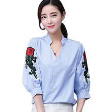 2017 Spring Summer Women Shirt V-neck Floral Embroidery Striped Ladies Blouse Shirt Casual Slim Tops Plus Size L-3XL New Blusas
