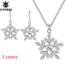 PROMOTION peice wholesale retail set wedding party bridal party jewelry sets fashion silver jewellery earring necklace snowflake(China)