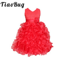 TiaoBug Floral Beading Flower Girl Dresses Kids Cascading Ruffle Party Evening Gowns Pearls Communion Dress Festival Vestidos(China)