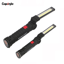 Portable COB Flashlight Torch USB Rechargeable LED Work Light Magnetic Camping Lanterna Hanging Tent Lamp Built-in Battery(China)