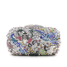 BL051 Luxury diamante evening bags colorful clutch bags women party purse dinner bags crystal handbags gemstone wedding bags(China)