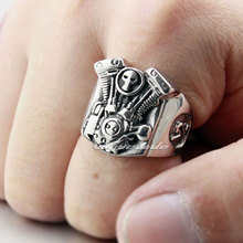 Punk Fashion Locomotive Engine Ring Solid 316L Stainless Steel Cool Men's Biker Skull Motorcycle Engine Ring 4C008