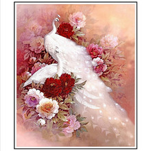 Animals Mosaic DIY diamond Painting crystal white peacock 3D Cross Stitch Decorative diamond embroidery square Rhinestone(China)