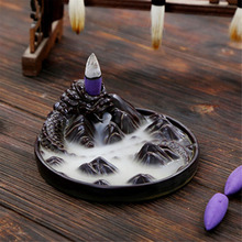 Ceramic Black Dragon Backflow Incense Burner Holder Aromatherapy Buddhist Censer Home Decoration Incense Cones 12.2x5.2cm(China)
