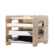 Wooden Office Organizer A4 Paper File Holder 5 Color 4 Layers Multi-Use Sundries Storage Box Eco Wood Desk Storage Holder(China)
