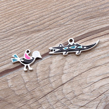 Brand New 10PCs Animal Bird crocodile Pendant charms silver color plated oil drop enamel metel bracelet necklace earring charm