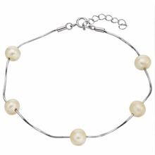 Bella Fashion 925 Sterling Silver Bridal Bracelet Freshwater Cultured Pearl Chain Bracelet For Women Wedding Party Jewelry Gift(China)