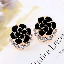 SHUANGR New Charming Beautiful 3 Colors Rose Flower Crystal Ear Stud Women's Romantic Gold-Color Stud Earrings Fashion Jewelry
