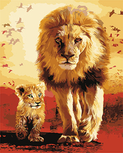 DIY oil Painting By Numbers The Lion Animal Kits Coloring Oil Painting On Canvas Drawing Home Artwork Wall Art Picture(China)