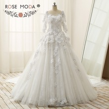 Buy Rose Moda Luxury Long Sleeves Ball Gown Royal Train Vintage Lace Muslim Wedding Dress 1M Train 3D Flowers Real Photos for $482.30 in AliExpress store