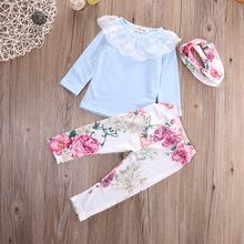 Lace Flower Princess Newborn Baby Girls Tops T-shirt + Floral Pants Headband Set Toddler Clothes Outfit Christmas Clothing Set(China)