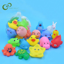 13 Pcs Lovely Mixed Animals Swimming Water Toys Colorful Soft Rubber Float Squeeze Sound Squeaky Bathing Toy For Baby Bath  WYQ
