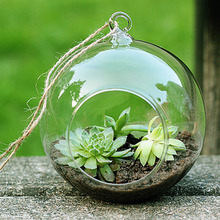High Quality Clear Glass Round Terrarium Flower Plant Stand Hanging Vase Hydroponic Home Office Wedding Garden Decor F1