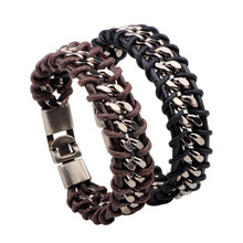 Punk Rock Adjustable Men Bracelet Leather Chain Twisted Bracelets & Bangles Leather Bracelet For Men Wristband Rope Jewelry