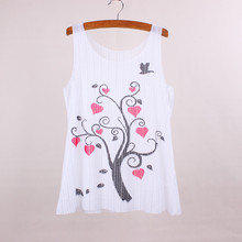 Red hearts tree pattern womens tank tops fashion 2016 new arrival ladies summer dresses girls printed tees low price wholesale(China)