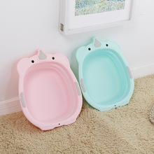 Buy Cute Cartoon Children's Folding Washbasin Infant Newborn Washing Bath Tub Baby Face Ass Wash Portable Wash Basin Baby Care for $9.40 in AliExpress store