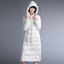 YNZZU Women Winter Down Coat Ultra light Extra Long Hooded White Long Sleeve Korean Style Lady Down Jackets Women Clothes YO170