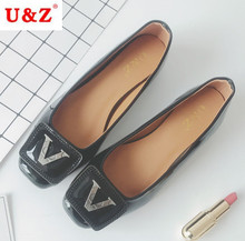 US9 Luxury metal buckle V shape women small block heels office,Real photos Ladies go street pumps shoes Black/Brown Hot sale(China)
