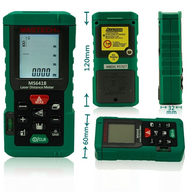 MASTECH MS6418 MS6416 MS6414 Digital Laser Distance Meter Rangefinder 80m 60m 40M Range Finder Tape Measure<br>