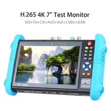 "H.265 4K 7"" inch Tester Monitor SDI TVI CVI AHD VGA CVBS 6in1 IP Camera Tester Video CCTV Test Onvif TFT Screen 12V 2A"