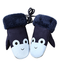 Children's Lovely Cartoon Frogs Mittens Winter Warm Thick Cashmere Suede Leather Boy/Girls Faux Sheepskin Gloves Kids Gifts 100E(China)