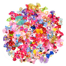 New 100/50/lot Dog Grooming Bows Diamond Pearls Style pet hair bows dog hair accessories pet shop dog acessories(China)