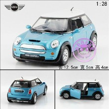 Hot sale 1pc 1:28 12.5cm KINSMART delicate blue MINI cooper S simulation model alloy car pull back home decoration gift toy