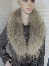 Genuine whole skin Raccoon fur collar (natural brown tips) scarf 90cm long a little dark