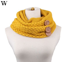 Womail 2015 fashion Women men Winter Warm Two Circle Cable Knit Neck Scarf Ring Neckerchief Red Yellow Grey(China)