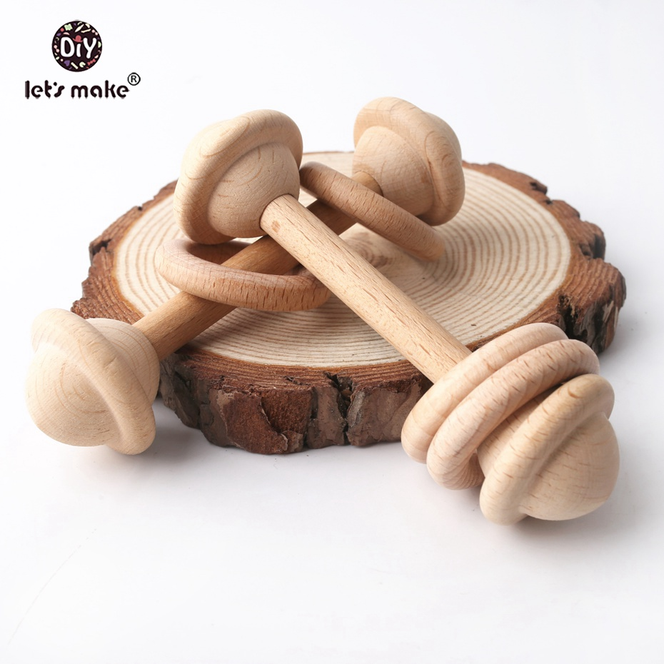 Let's Make Wooden Teether Rattle Squeaker 10pc Infant Wooden Teether Food Grade Wooden Teething Sensory Activity Teether Rattle