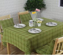 Checks natural linen fabric plaid green Multisize cotton vintage country american tablecloth lattice table cover dining