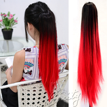 "20"" 50cm Synthetic Long Straight Claw Clip False Ponytail Natural Hair Extension Hairpieces Pony Tail Dark brown to Big Red"
