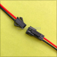50 Pairs/lot Terminals Connector 2pin Cable 10cm JST Terminals Red Black Wire Male Female Plug Cable Led SMP Electronic Cable(China)
