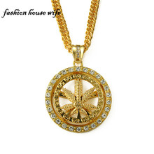 Hiphop Rhinestone Spinning Hempleaf Circular Pendant Necklace Men Women Long Gold China Necklace Jewelry LN0172(China)