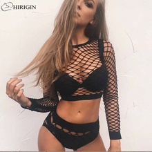 HIRIGIN 2017 New Sexy Women See through Perspective Sheer Mesh Fishnet Tee Bodycon Long Sleeve Tops Beach T Shirt