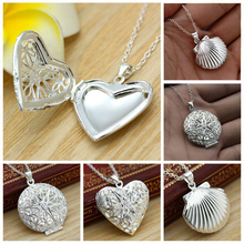 Valentine Lover Gift Hollow Out Water Drop Shell Photo Frames Can Open Locket Necklaces Silver Plated Heart Pendants Necklace