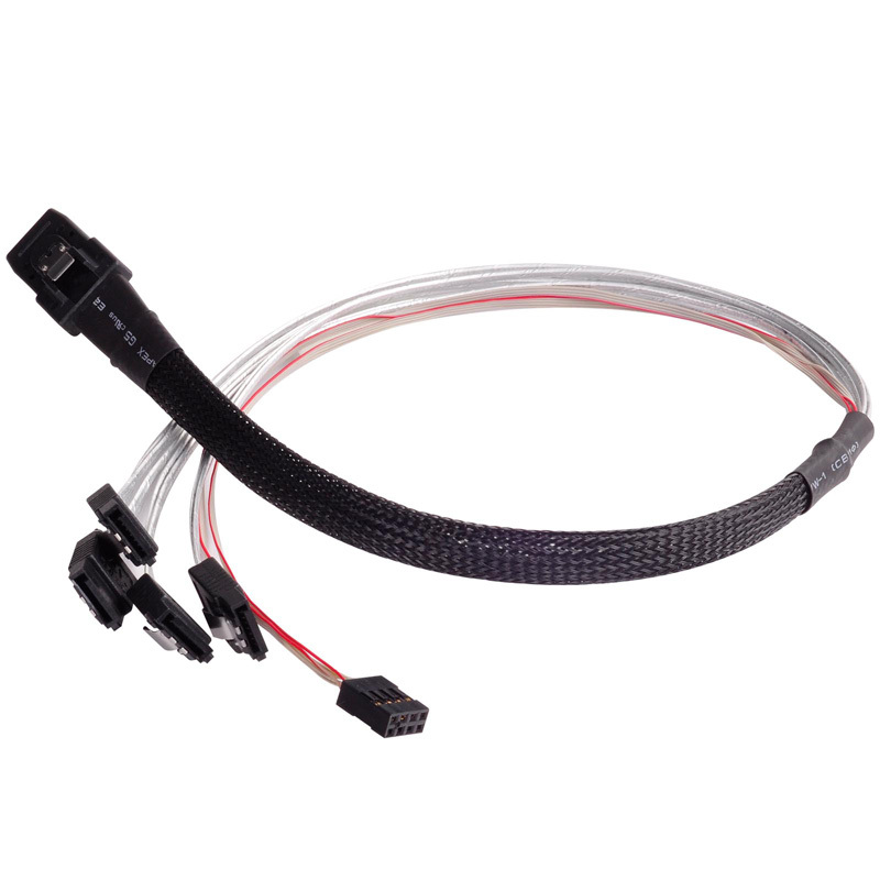 SST-CPS03 Mini-SAS Cable SFF-8087 36 pin to SATA 7 pin*4 (Target) with Sideband Cable (SPGIO) 50cm<br>