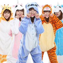 Winter Adult Unisex Pajamas Cartoon Animal Cosplay Costume Hooded Onesie Flannel Sleepwear Unicorn Panda Stitch Tigger Pikachu(China)