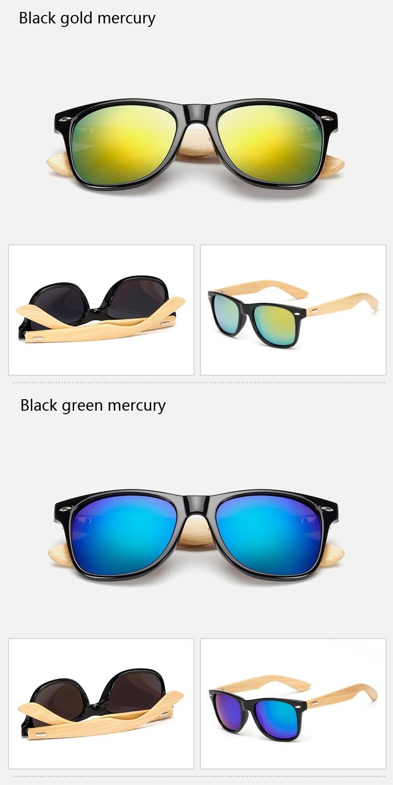 Ralferty Retro Wood Sunglasses Men Bamboo Sunglass Women Brand Design Sport Goggles Gold Mirror Sun Glasses Shades lunette oculo 10