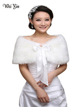Real Picture New Fashion Cheap Winter White/Ivory Faux Fur Pearl Shrug Cape Stole Wrap Shawl Jacket Wedding Bridal Accessories