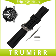 Silicone Rubber Watch Band + Carved PAM Buckle 316L Stainless Steel for Diesel Men Women Wrist Strap Bracelet Black 22mm 24mm