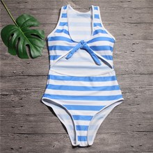 Buy Swimwear Women One Piece Swimsuit Striped Bodysuit 2018 Brand Bathing Suit Monokini Swimming Suit Maillot De Bain Femme for $8.77 in AliExpress store