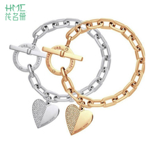 New 3 colors Zinc Alloy charm bracelet  Rhinestones  polishing jewelry love bracelet Toggle-clasps  women Jewellry