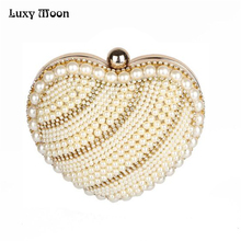 Mini Women Heart Pearl Bag Fashion Evening Bag Peach Heart Beaded Part Club Day Clutch Best Shoulder Bag Mobile Phone Case ZD399(China)
