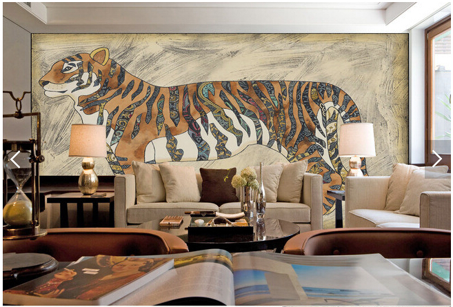 Custom Papel de parede 3D.Retro tiger painting for the living room bedroom restaurant background wall waterproof vinyl wallpaper<br>