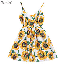 Gamiss Sunflower Mini Summer Beach Sundress Bohemian Floral Spaghetti Strap Yellow Dress Women Casual Holiday Dresses Vestidos