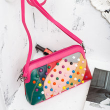 2017 New Wool Rock Color Stud Handbags Women Fashion Color Rivets Shoulder Bags Easy Matching for Valentines WR1606